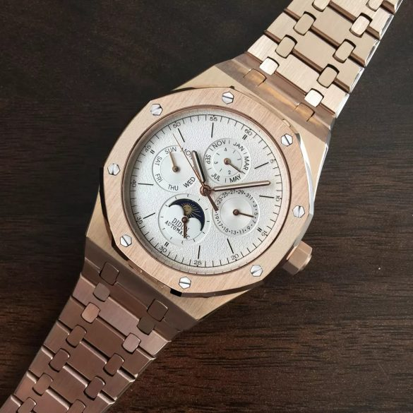 Didun Design Royal One Luxus Automatic Moon Phase Watch  Rose Gold/Leather strap